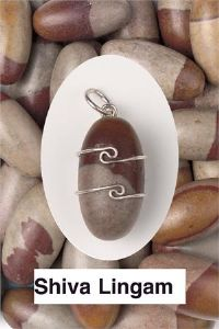 Heaven & Earth's Wired Wrapped Gemstone Pendant: Shiva Lingham